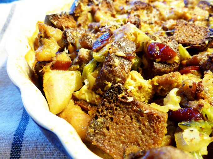 Sausage Dressing (Stuffing) with Apples, Dried Cherries and Chestnuts (Paleo, SCD, GAPS, grain free, dairy free option)