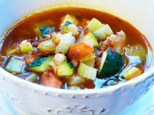 White Bean Soup with Chicken Sausage, Roasted Tomatoes and Zucchini (Paleo, SCD, GAPS, grain free, dairy free option)