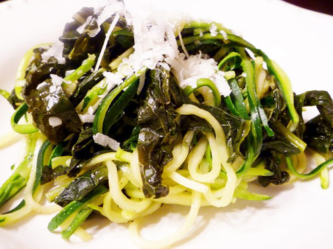 Garlicky Greens with Zoodles (Zucchini Noodles) AIP, Paleo, GAPS, SCD