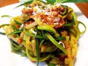 Zoodles with a Roasted Tomato Pesto Sauce (Paleo, SCD, GAPS, grain free, dairy free option)