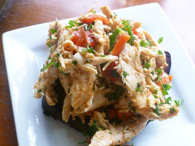 Aunt Nettie's Chicken Salad with Roasted Red Peppers and Garlic (Paleo, SCD, GAPS, grain free, dairy free)