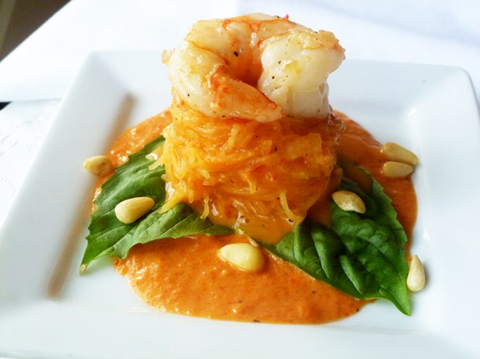 "Shrimp in a Roasted Red Pepper ""Cream"" Sauce (Paleo, GAPS, SCD, grain free, dairy free)"