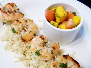 Grilled Cilantro Lime Shrimp with Strawberry Mango Salsa (AIP, Paleo, GAPS, SCD)