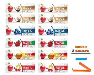 That's It Bar,complete Flavor Sampler,Variety pack of 12 (4 Apple+Coconut ,2 Apple+ Cherry, 2 Apple+ Blueberry, 2 Apple+Strawberry,2 Apple+Mango,), BONUS!! 2 BAG CLIPS FREE