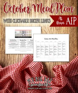 October Monthly Meal Plan with Clickable Recipe Links