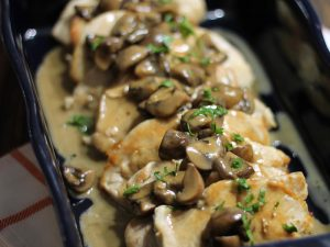 "Chicken with Mushroom Wine ""Cream"" Sauce (AIP, Paleo, GAPS, SCD)"