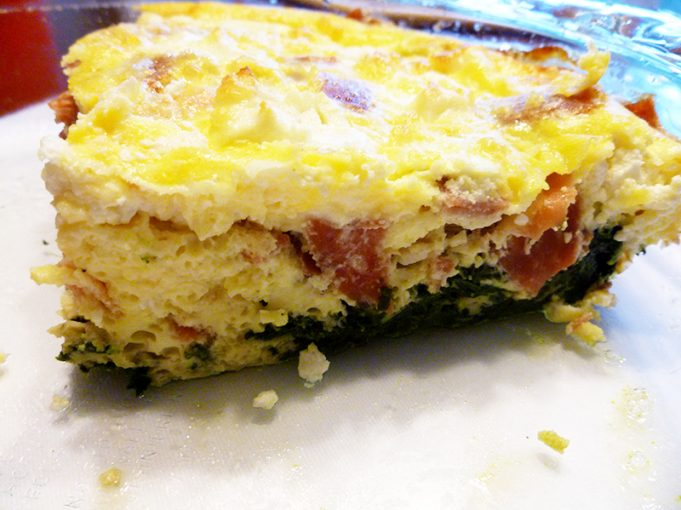 Crustless Quiche with Spinach, Pancetta and Goat Cheese (gluten-free, grain-free)