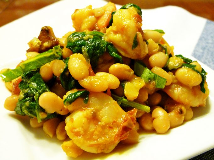 Tuscan White Beans with Shrimp, Spinach, & Roasted Tomatoes (SCD, GAPS, grain free with dairy free option)
