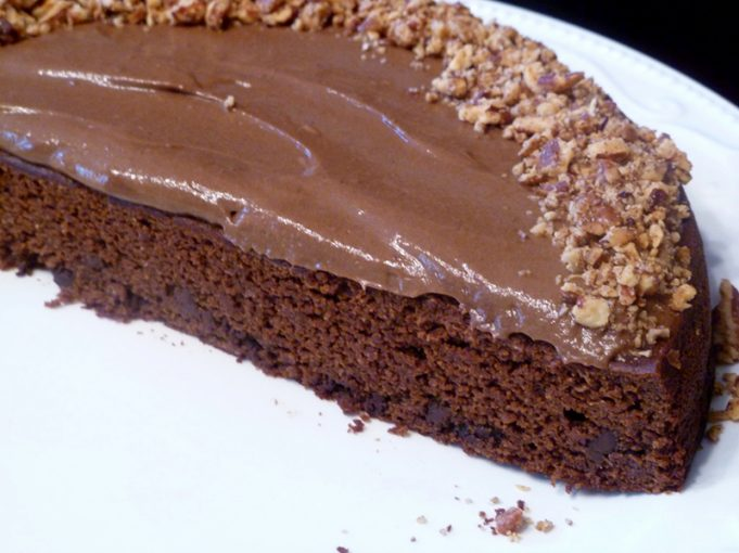 Grain Free Chocolate Torte with Dairy Free Chocolate Mousse and Salted Pecans (Paleo)