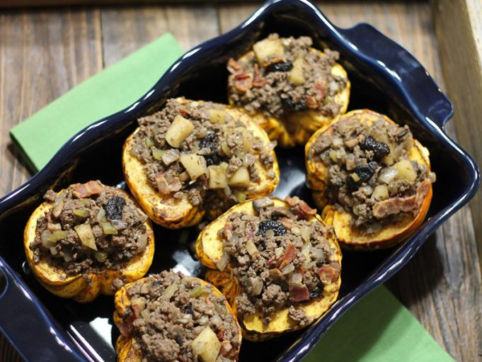 Winter Squash with Savory Bacon & Apple Stuffing (AIP, Paleo, GAPS, SCD)